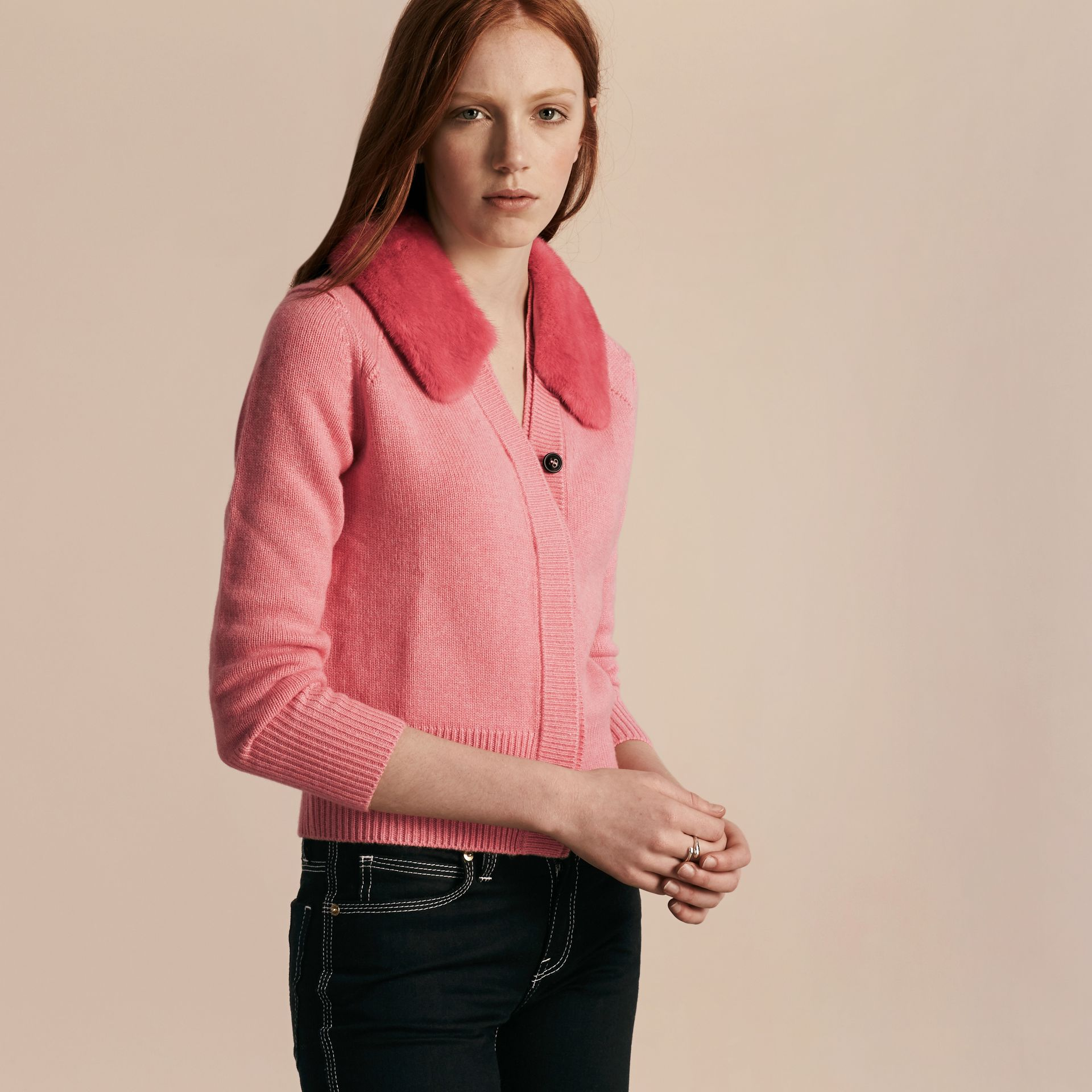 Mink Collar Cashmere Cardigan - gallery image 7