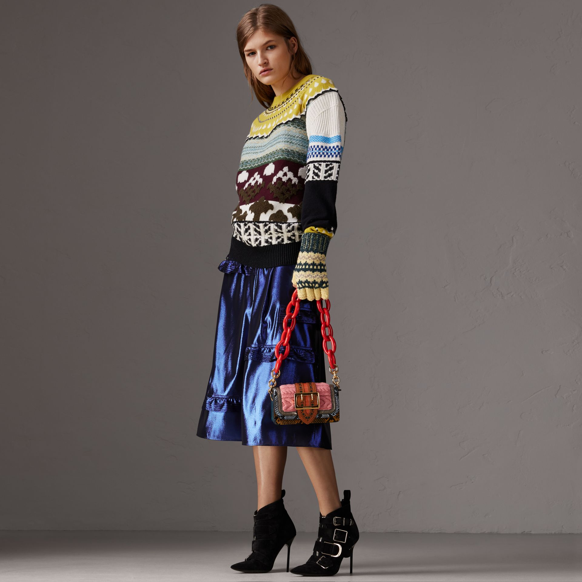 Ruffle Detail Lamé Skirt in Bright Navy - Women | Burberry - gallery image 0