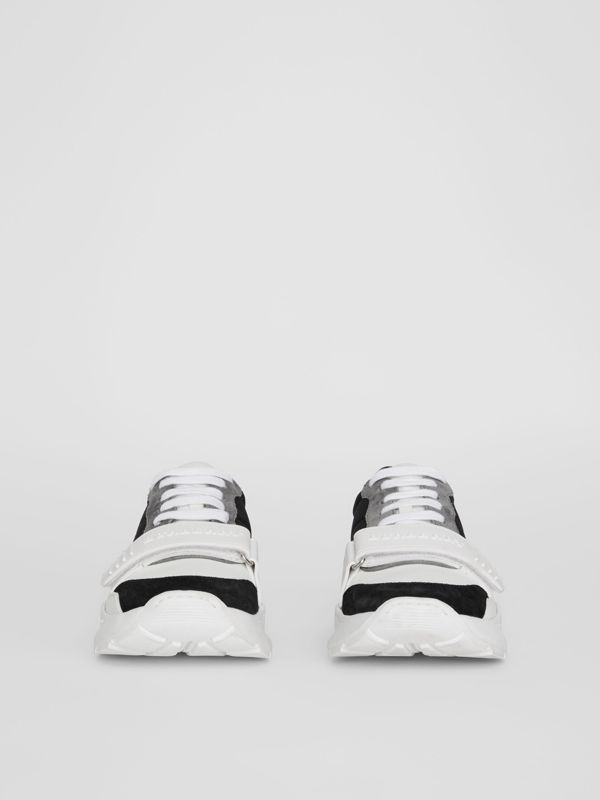 Suede, Neoprene and Leather Sneakers in Black - Women | Burberry Australia - cell image 2