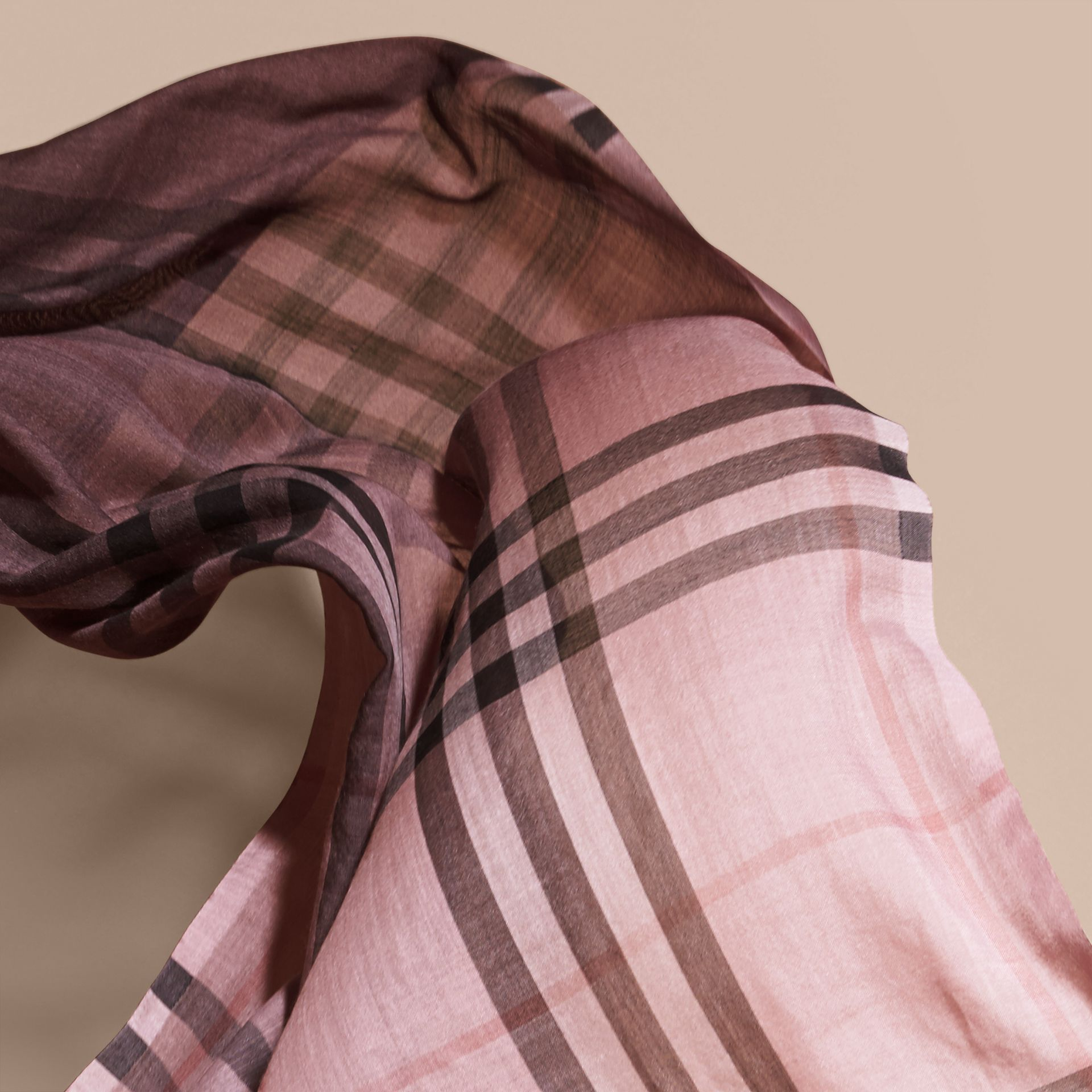 Ash rose Ombré Check Lightweight Wool Silk Scarf Ash Rose - gallery image 4