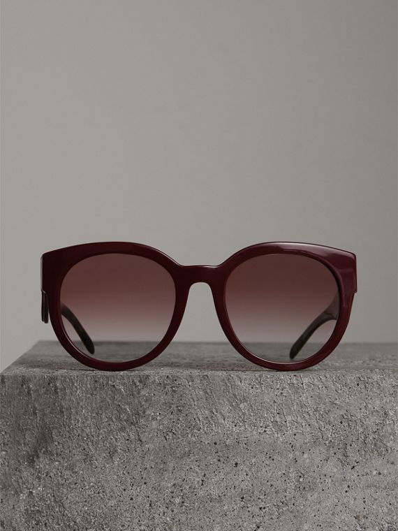 Round Frame Sunglasses in Burgundy - Women | Burberry - cell image 3