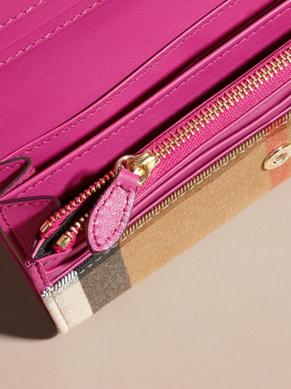 House Check and Leather Continental Wallet Brilliant Fuchsia - cell image 3