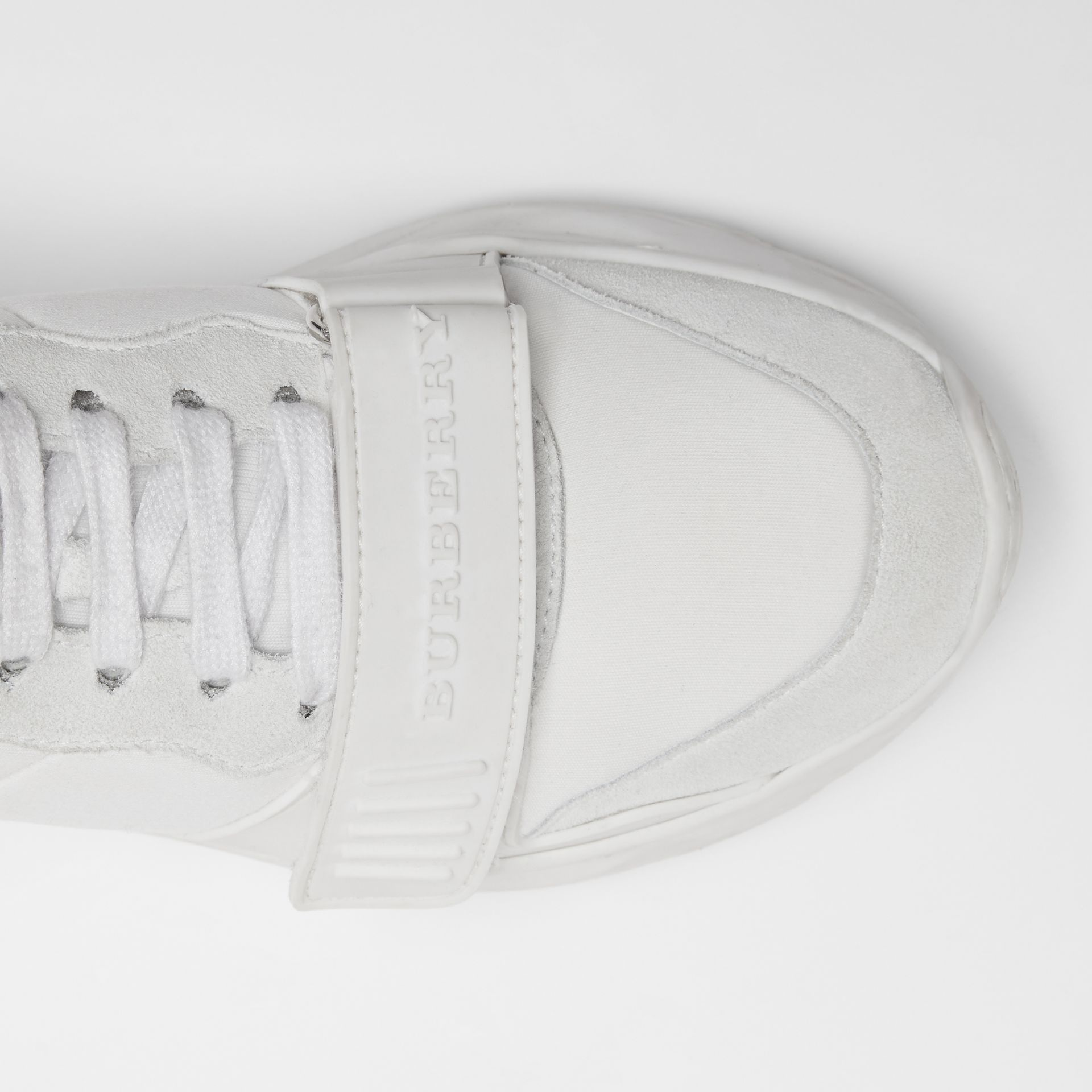 Suede, Neoprene and Leather Sneakers in Optic White - Women | Burberry - gallery image 1