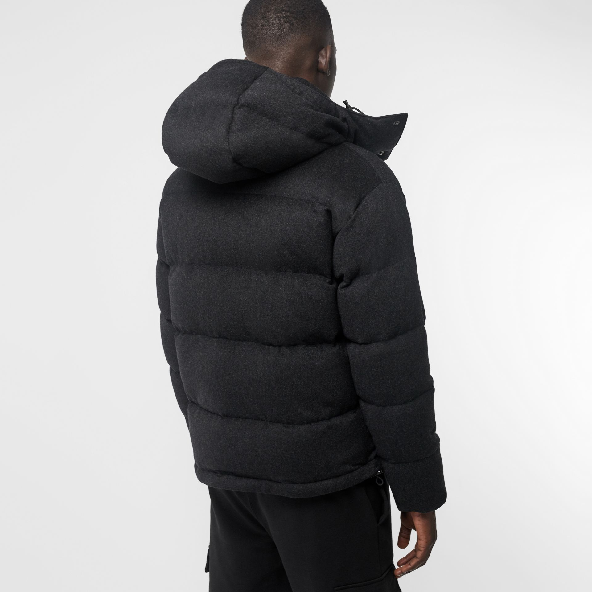 Detachable Hood Cashmere Down-filled Jacket in Dark Grey Melange - Men | Burberry United States - gallery image 2