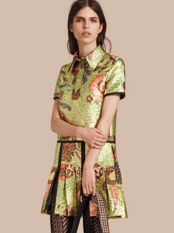 Lamé Floral Print Shirt Dress