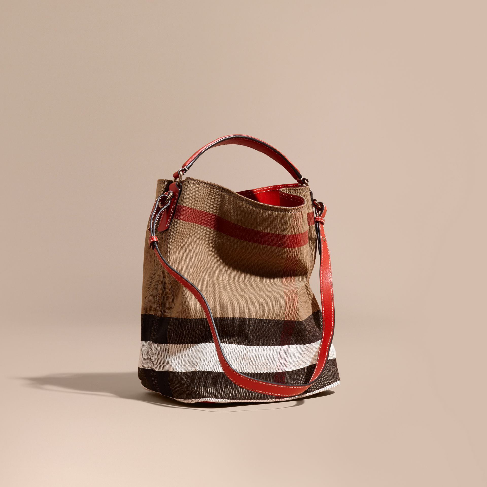Medium Canvas Check Hobo Bag in Cadmium Red - Women | Burberry - gallery image 1