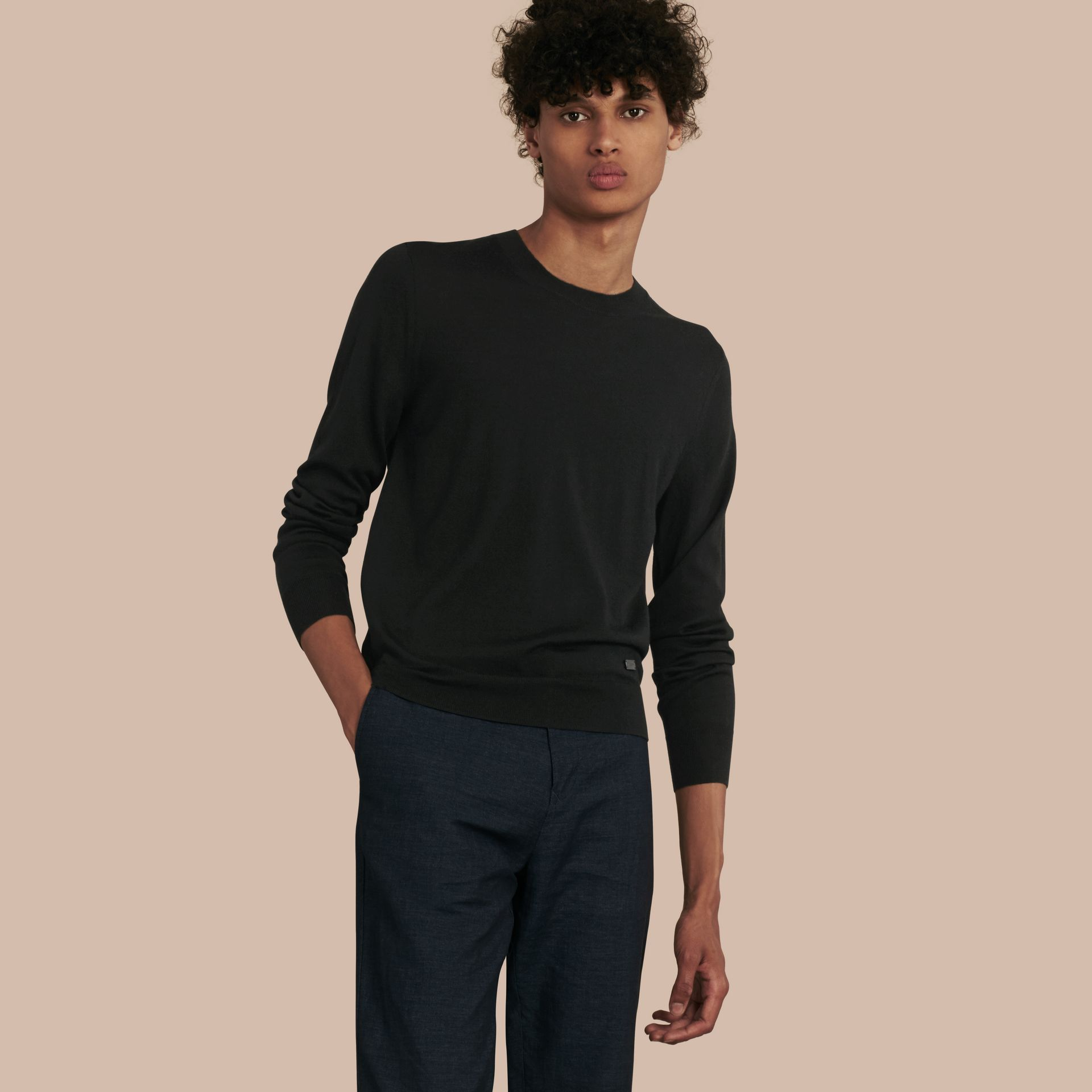 Black Crew Neck Merino Wool Sweater Black - gallery image 1