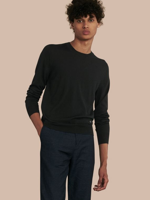 Crew Neck Merino Wool Sweater Black