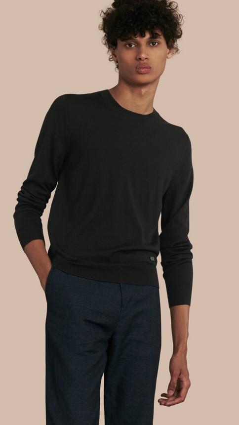 Black Crew Neck Merino Wool Sweater Black - Image 1