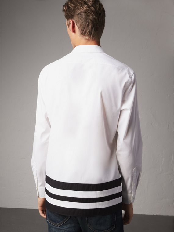 Striped Hem Stretch Cotton Shirt in White - Men | Burberry - cell image 2