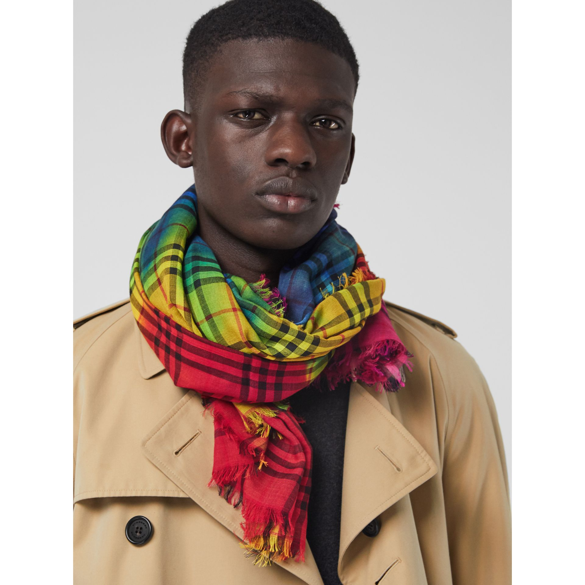 Tie-Dye Vintage Check Wool Silk Large Square Scarf in Multicolour | Burberry - gallery image 6
