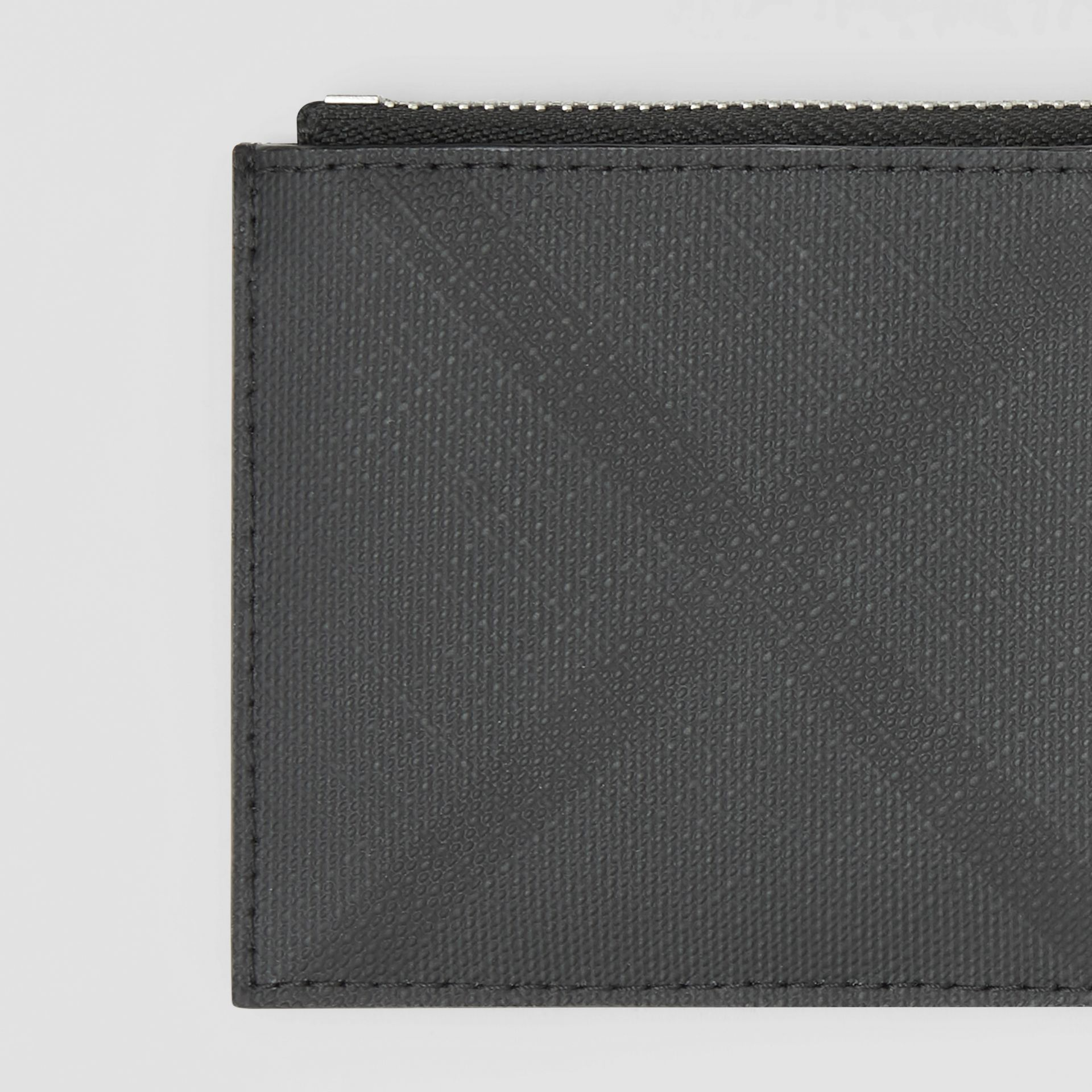 London Check and Leather Zip Card Case in Dark Charcoal - Men | Burberry - gallery image 1