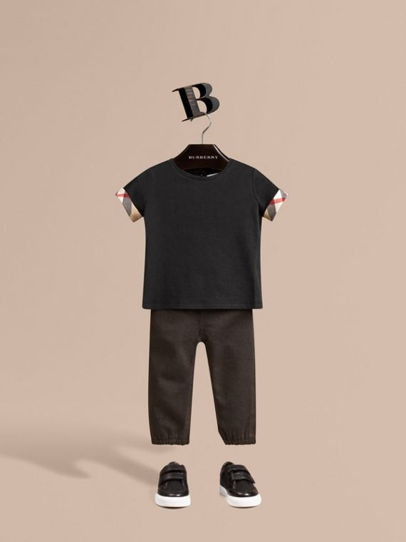 Check Cuff Cotton T-shirt - Girl | Burberry Canada
