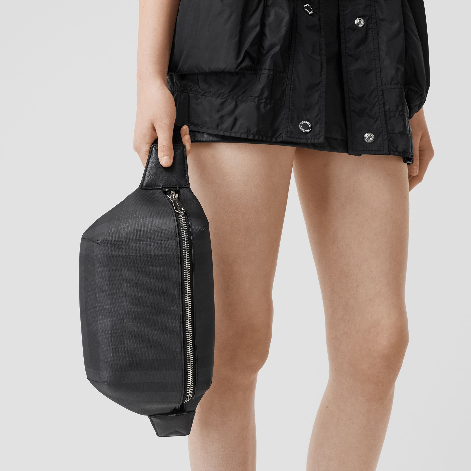 Medium London Check and Leather Bum Bag in Dark Charcoal | Burberry - gallery image 2