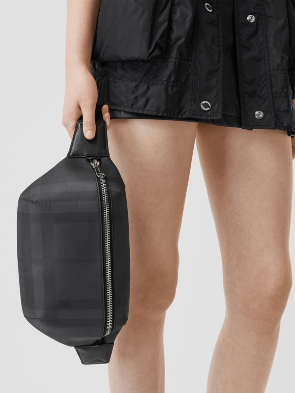 Medium London Check and Leather Bum Bag in Dark Charcoal | Burberry - cell image 2