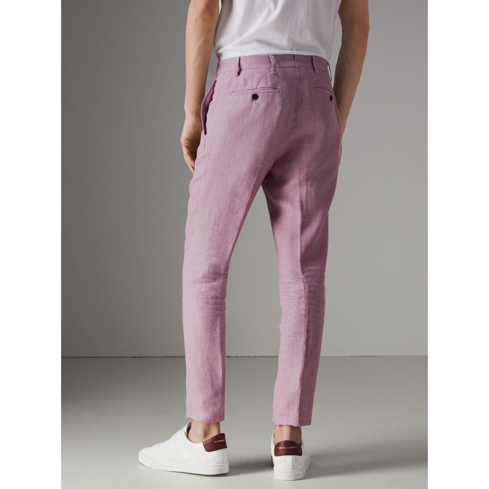 Soho Fit Linen Trousers in Pink Heather - Men | Burberry - gallery image 2
