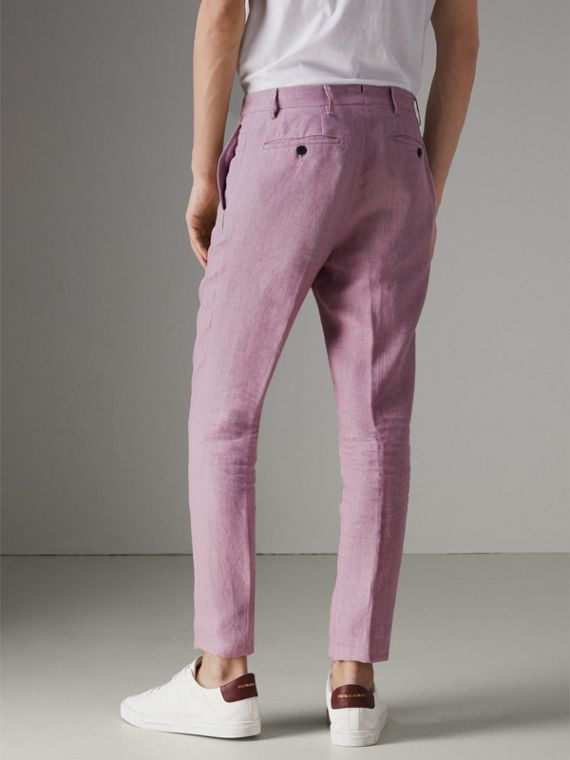 Pantalon de coupe Soho en lin (Pourpre Rose) - Homme | Burberry - cell image 2