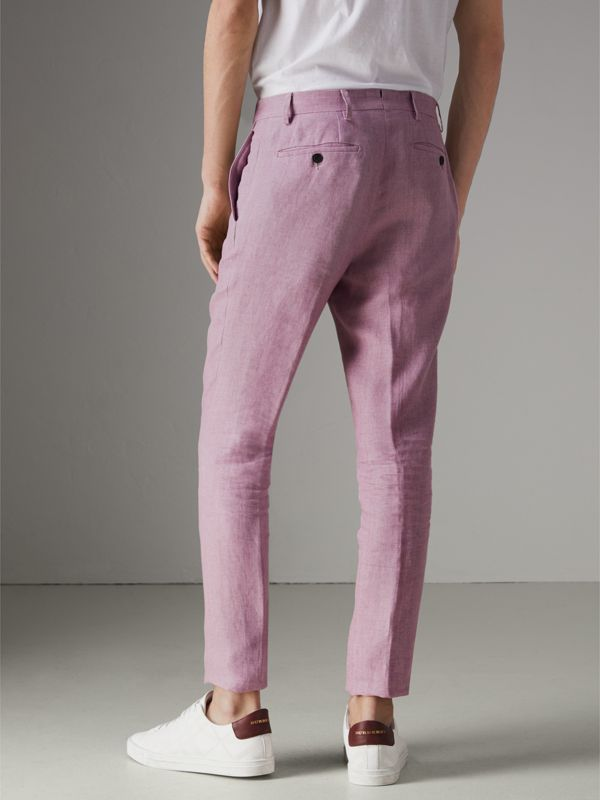 Soho Fit Linen Trousers in Pink Heather - Men | Burberry - cell image 2