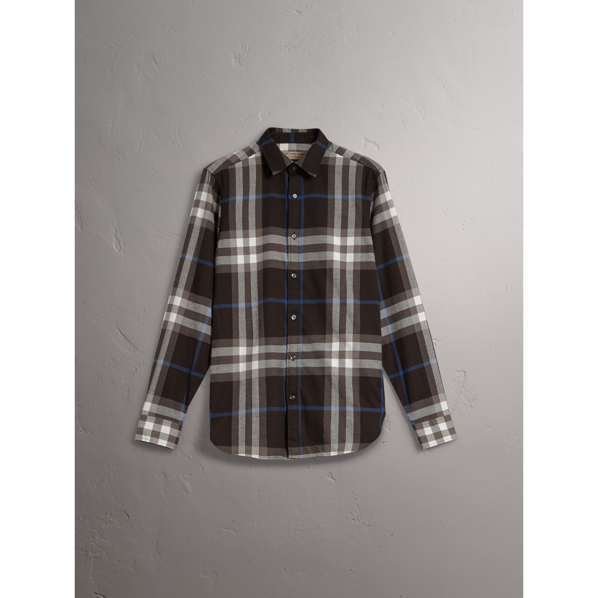 Check Cotton Flannel Shirt in Black - Men | Burberry Australia - gallery image 3