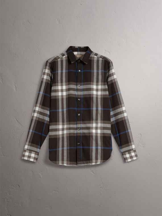 Check Cotton Flannel Shirt in Black - Men | Burberry United Kingdom - cell image 3