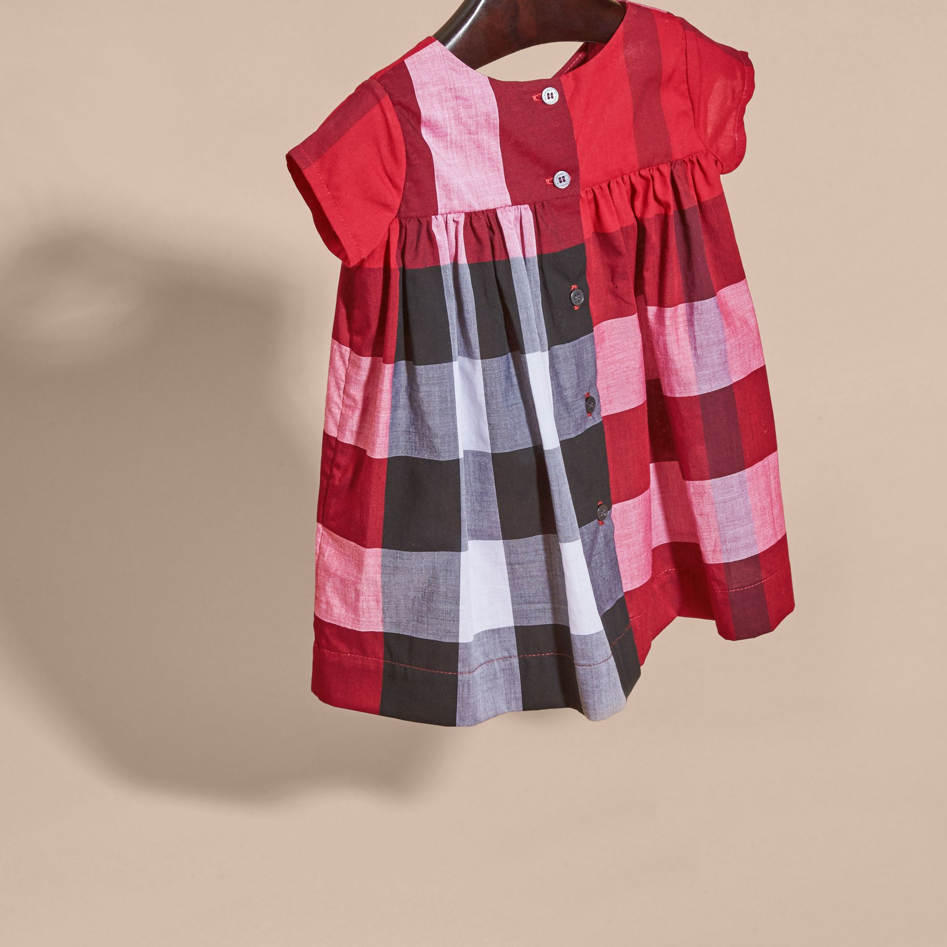 Parade red Check Cotton Dress Parade Red - gallery image 4