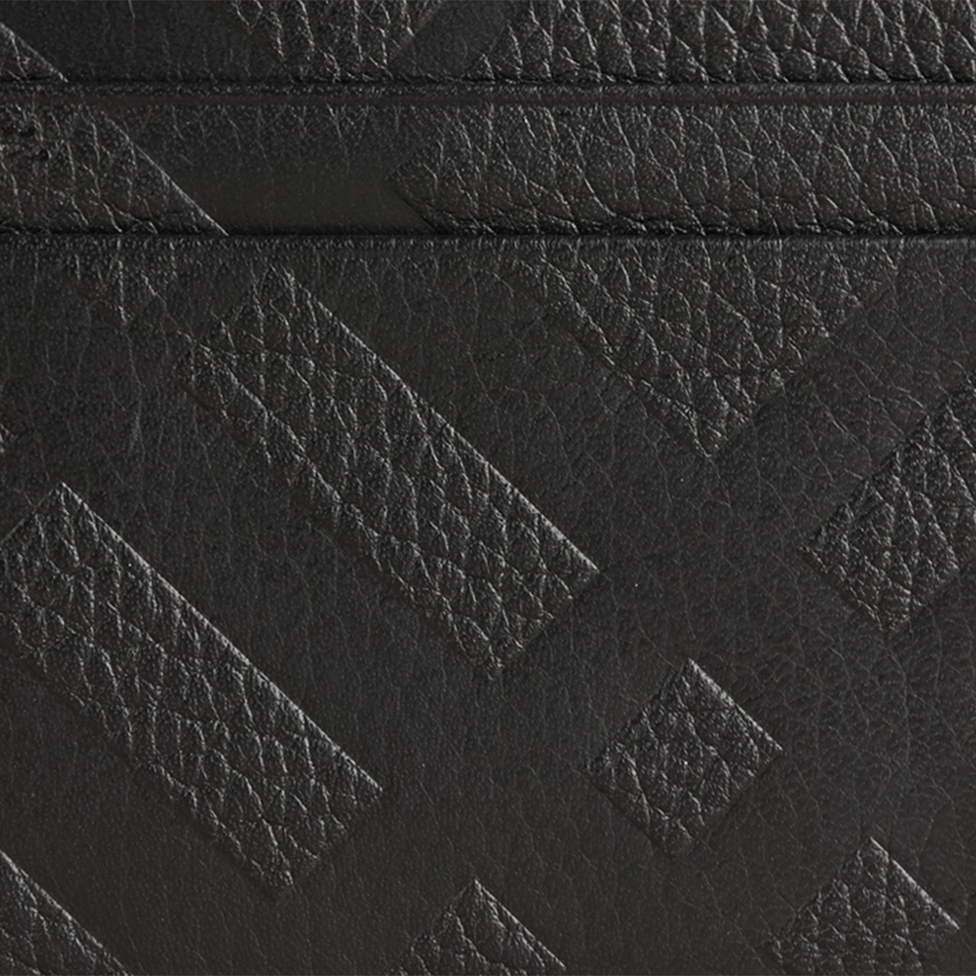 Black Embossed Check Leather Card Case Black - gallery image 2