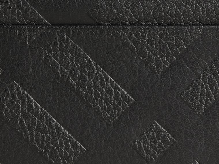 Black Embossed Check Leather Card Case Black - cell image 1