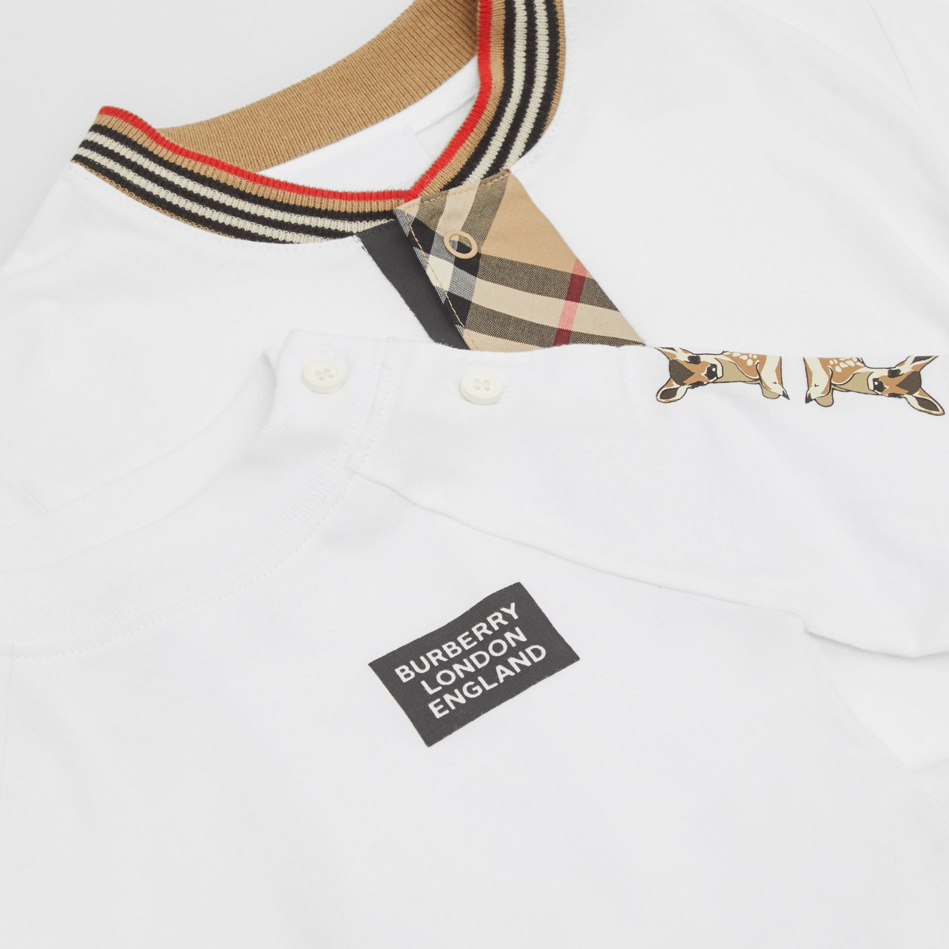 Check Trim Organic Cotton Two-piece Baby Gift Set in White - Children   Burberry United Kingdom - gallery image 1
