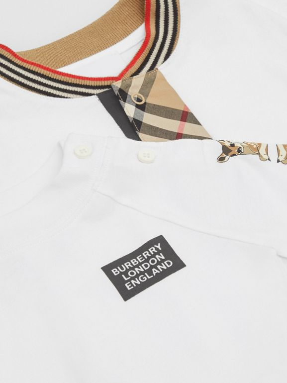 Check Trim Organic Cotton Two-piece Baby Gift Set in White - Children   Burberry United Kingdom - cell image 1