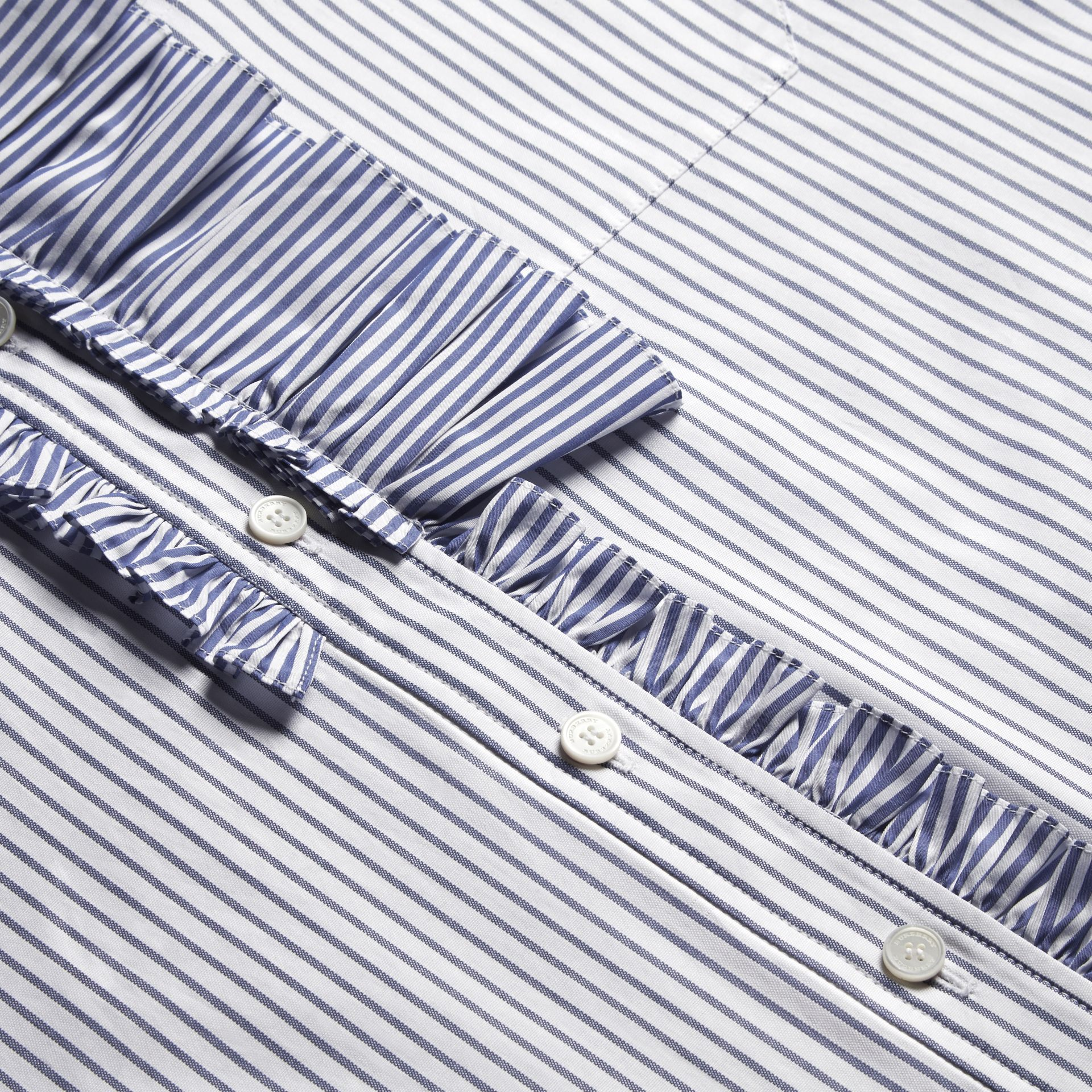 Pinstriped Cotton Shirt with Ruffles - gallery image 2