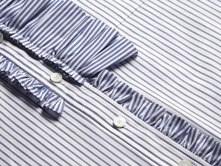 Navy Pinstriped Cotton Shirt with Ruffles - cell image 1