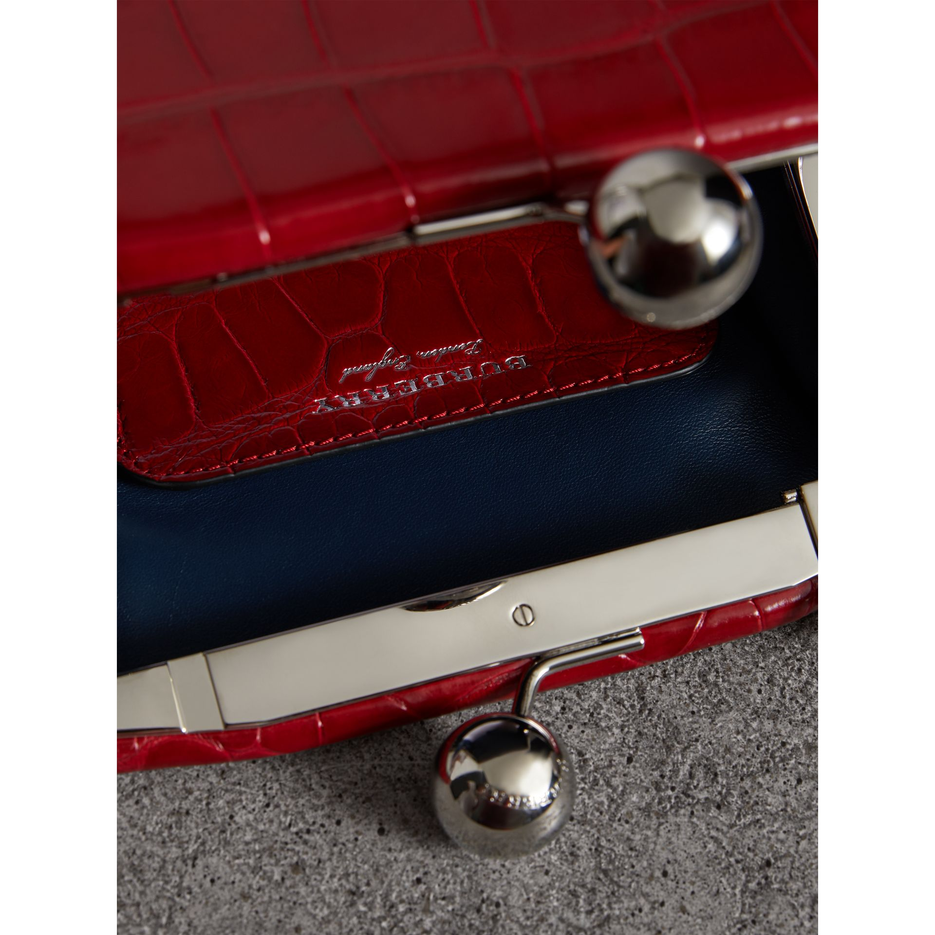 Small Alligator Metal Frame Clutch Bag in Bright Red - Women | Burberry - gallery image 5