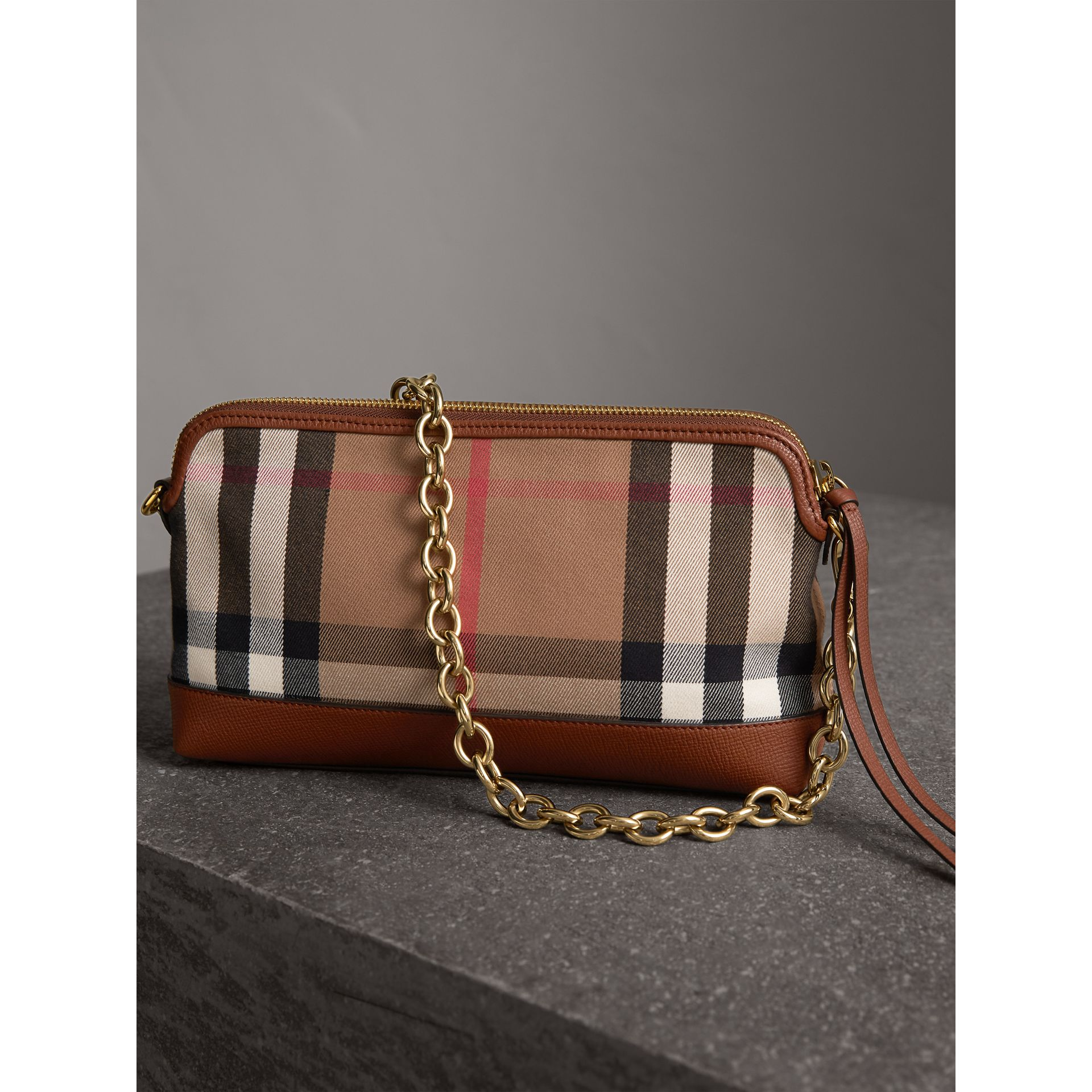 House Check and Leather Clutch Bag in Tan - Women | Burberry Canada - gallery image 5