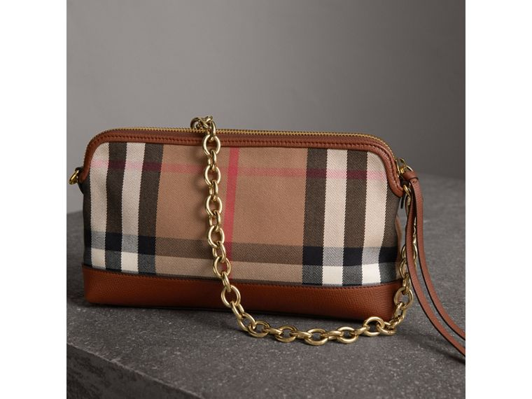 House Check and Leather Clutch Bag in Tan - Women | Burberry Canada - cell image 4