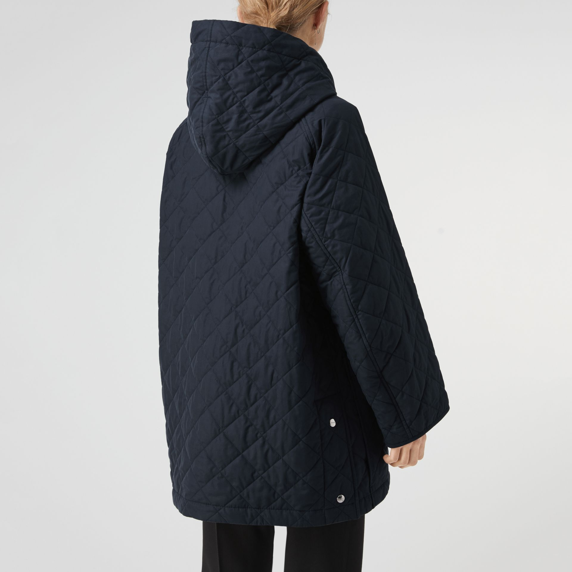 Lightweight Diamond Quilted Hooded Parka in Navy - Women | Burberry - gallery image 2