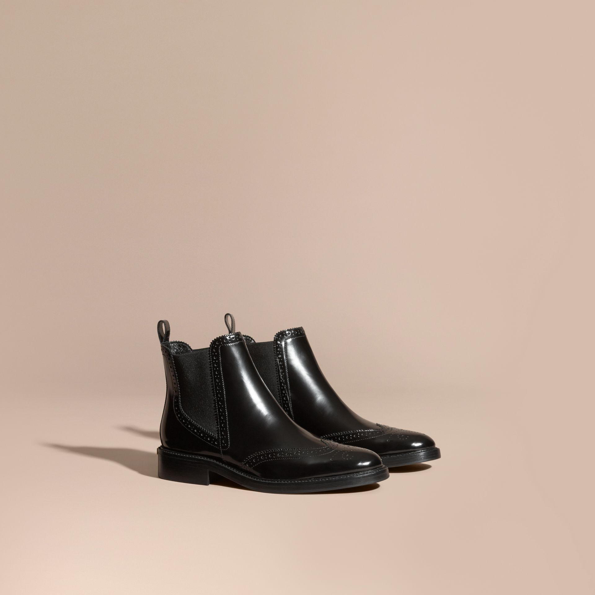 Black Leather Wingtip Chelsea Boots - gallery image 1
