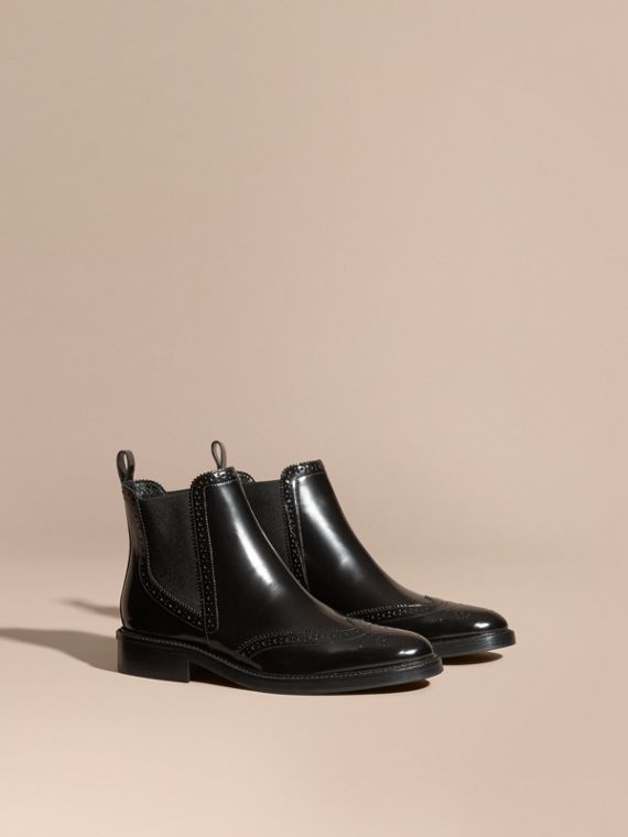 Leather Wingtip Chelsea Boots Black