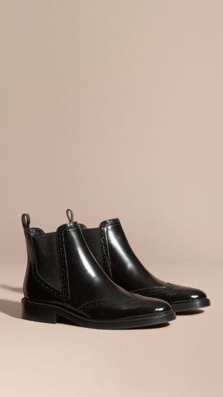 Leather Wingtip Chelsea Boots