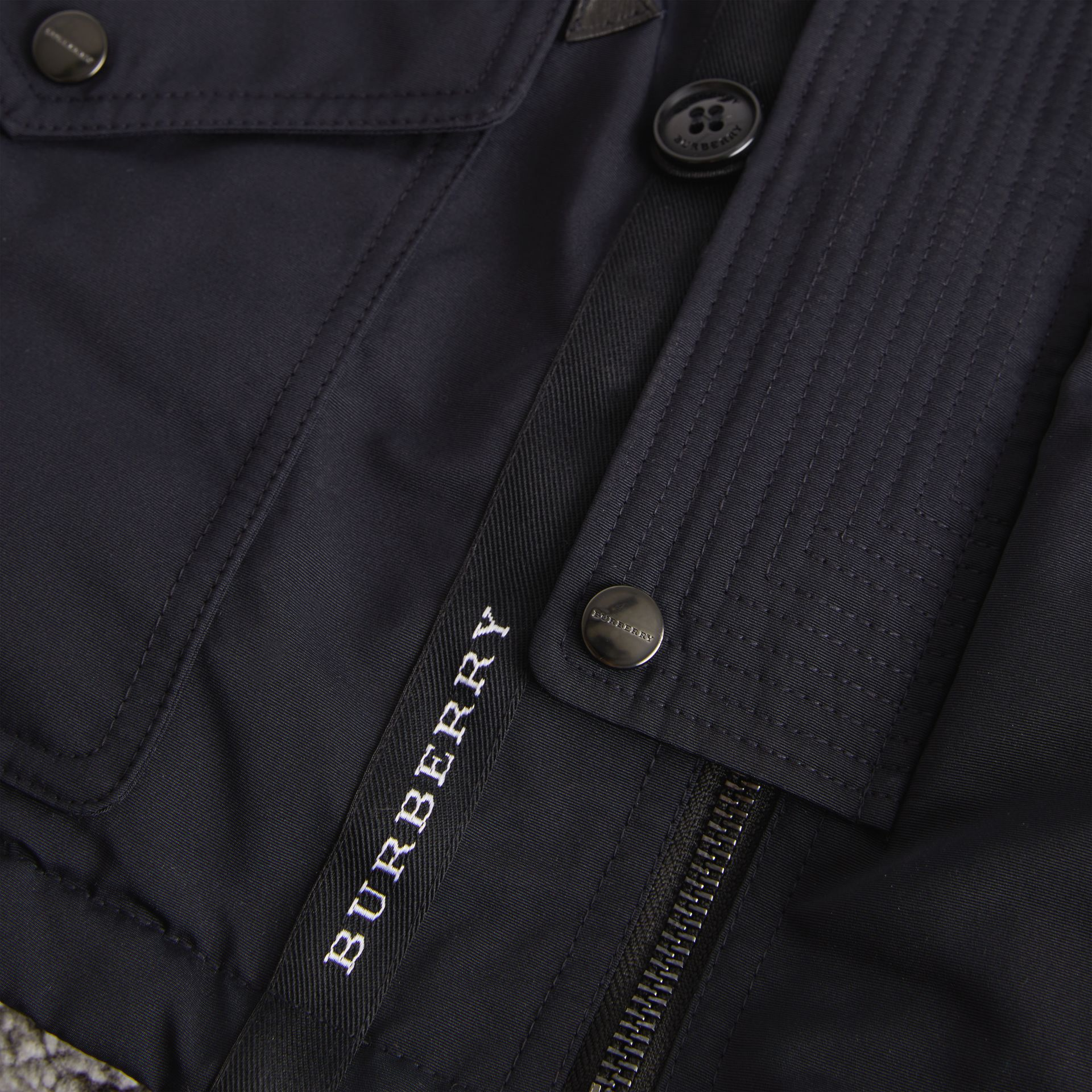 Detachable Hood Down-filled Parka Coat in Navy | Burberry - gallery image 1