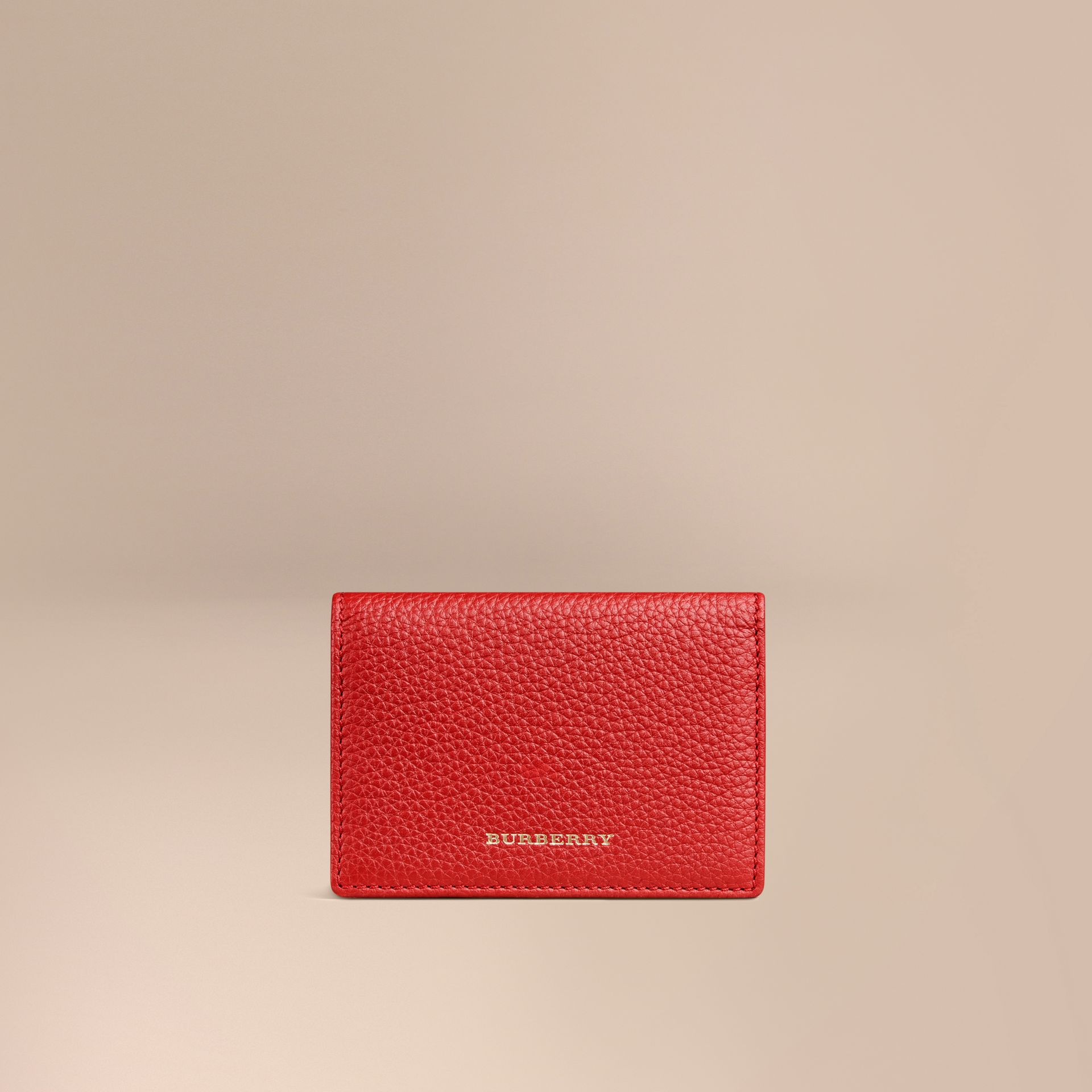 Grainy Leather Card Case in Parade Red | Burberry - gallery image 1