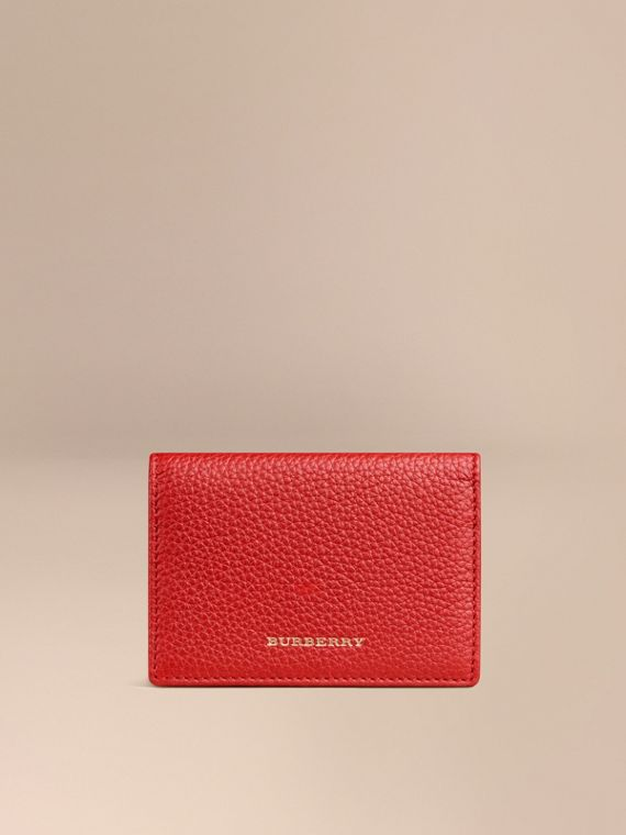 Grainy Leather Card Case Parade Red