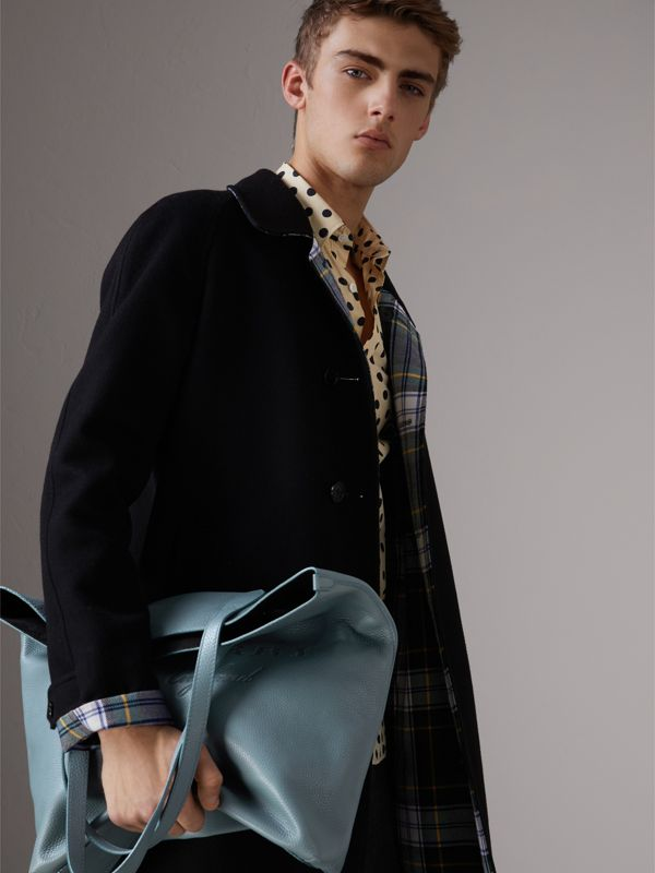 Embossed Leather Tote in Dusty Teal Blue | Burberry United Kingdom - cell image 3