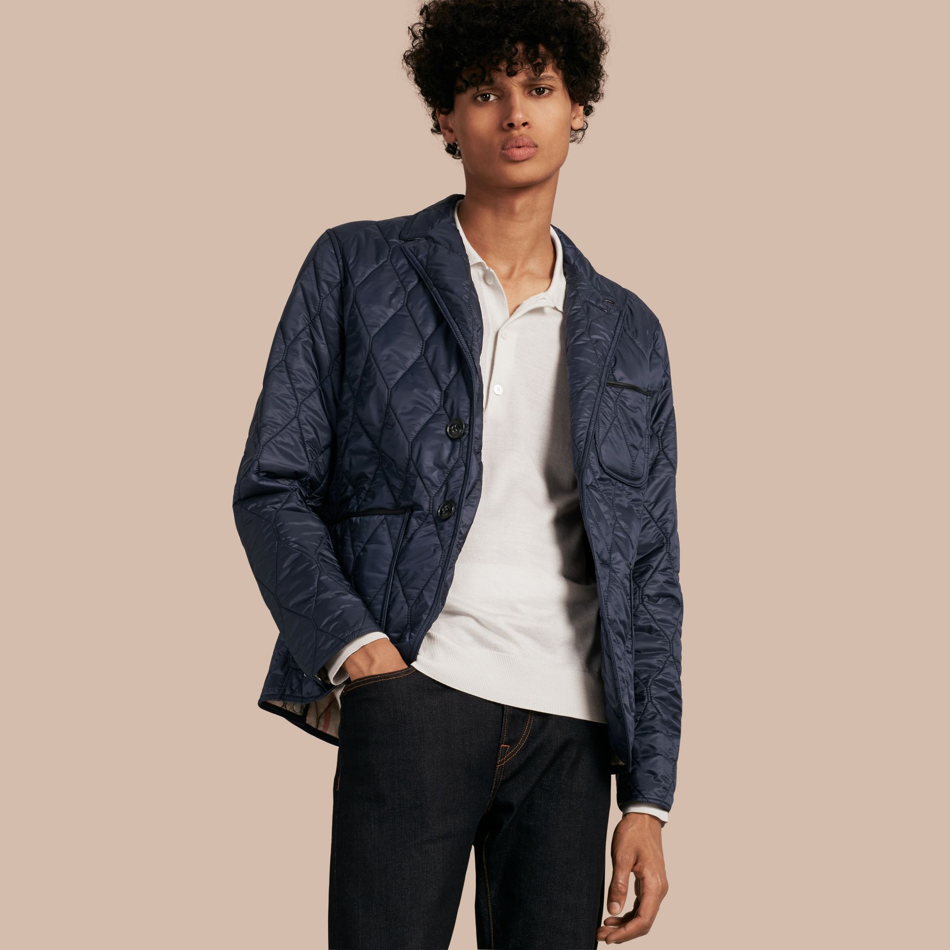 Lambskin Trim Quilted Blazer in Navy - Men | Burberry - gallery image 1