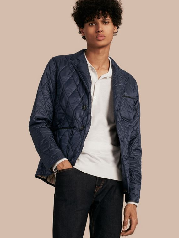 Lambskin Trim Quilted Blazer in Navy