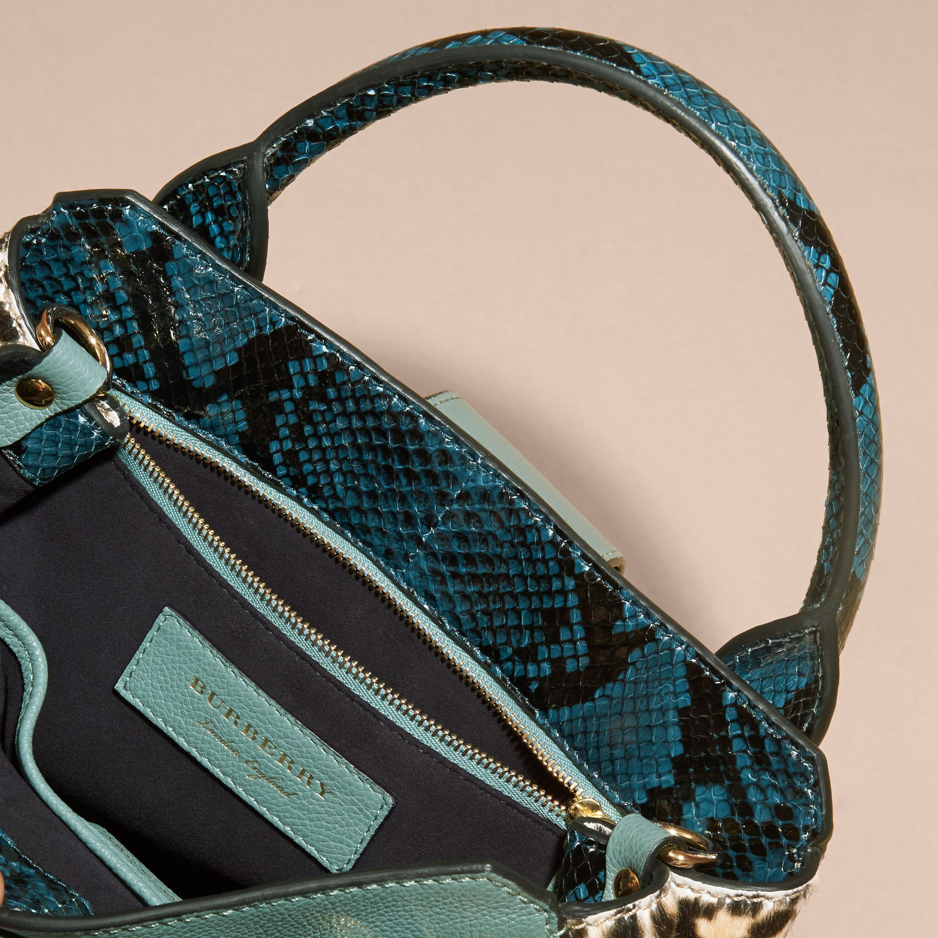 The Small Buckle Tote in Leather and  Leopard-print Calfskin in Eucalyptus Green - gallery image 6