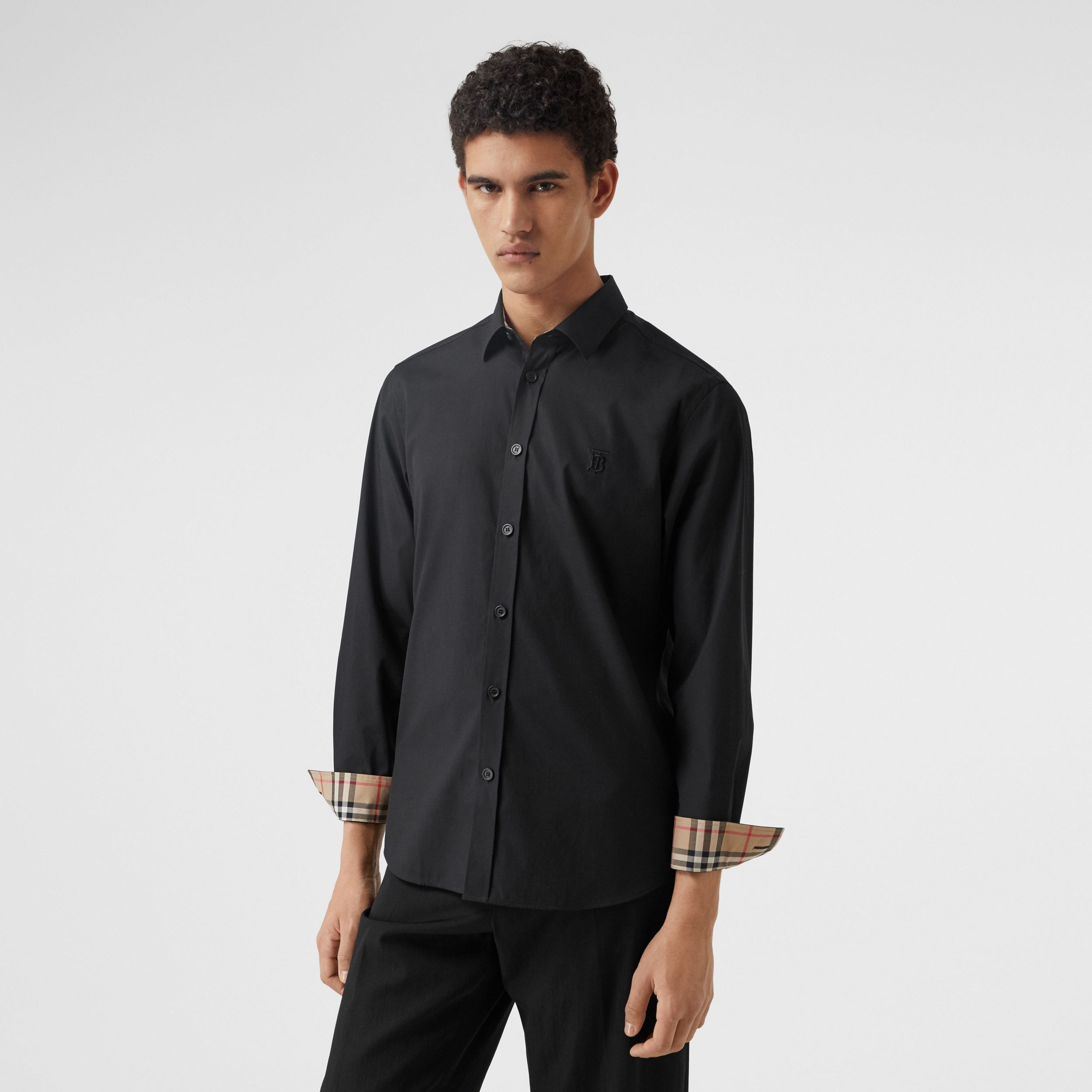 Slim Fit Monogram Motif Stretch Cotton Poplin Shirt in Black - Men | Burberry - 1