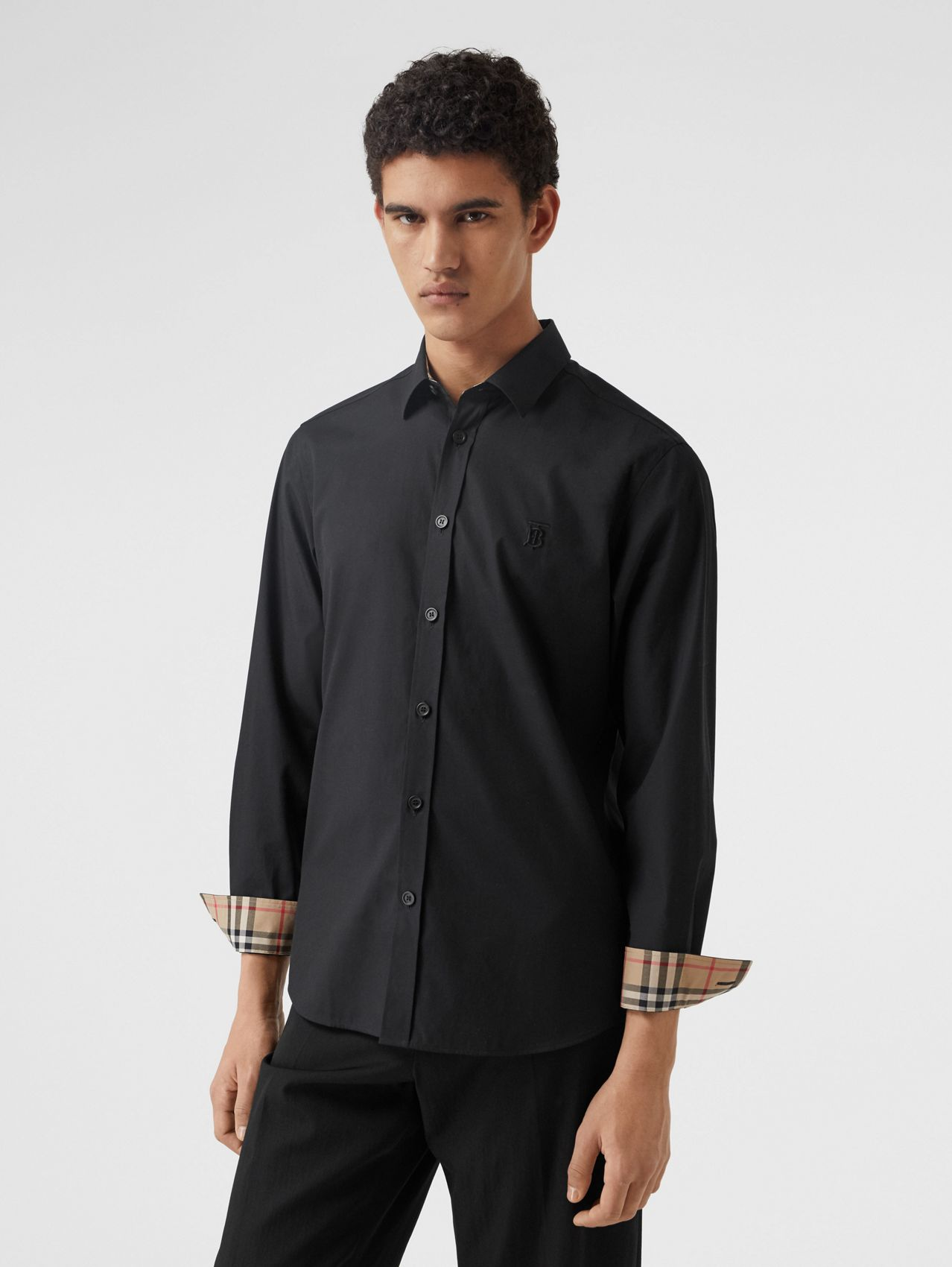 Chemise slim en popeline de coton stretch Monogram in Noir