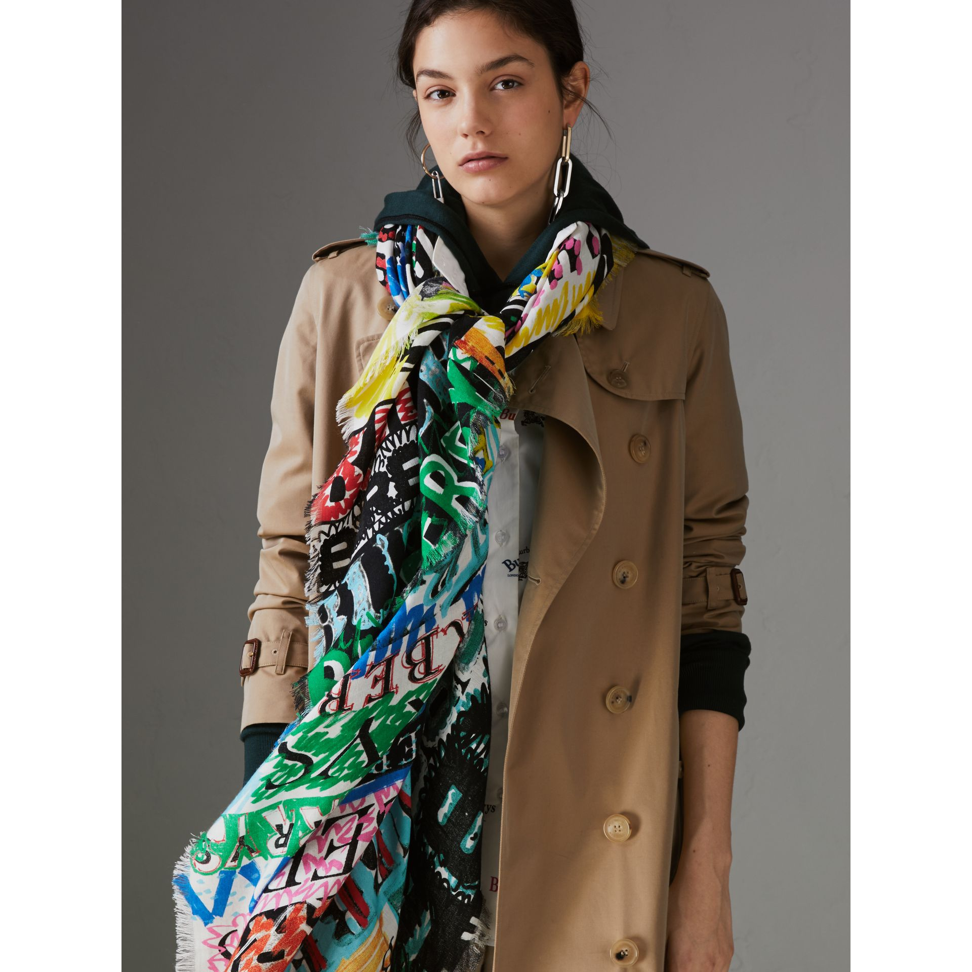 Tag Print Wool Silk Large Square Scarf in Multicolour | Burberry - gallery image 4