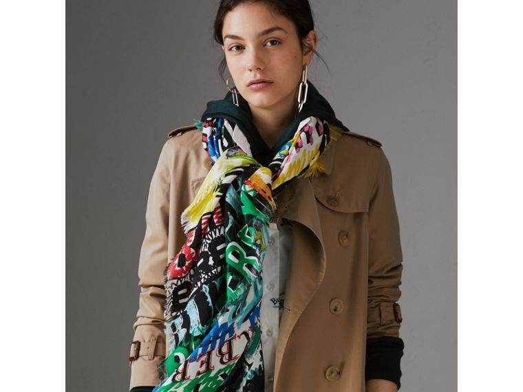 Tag Print Wool Silk Large Square Scarf in Multicolour | Burberry - cell image 4
