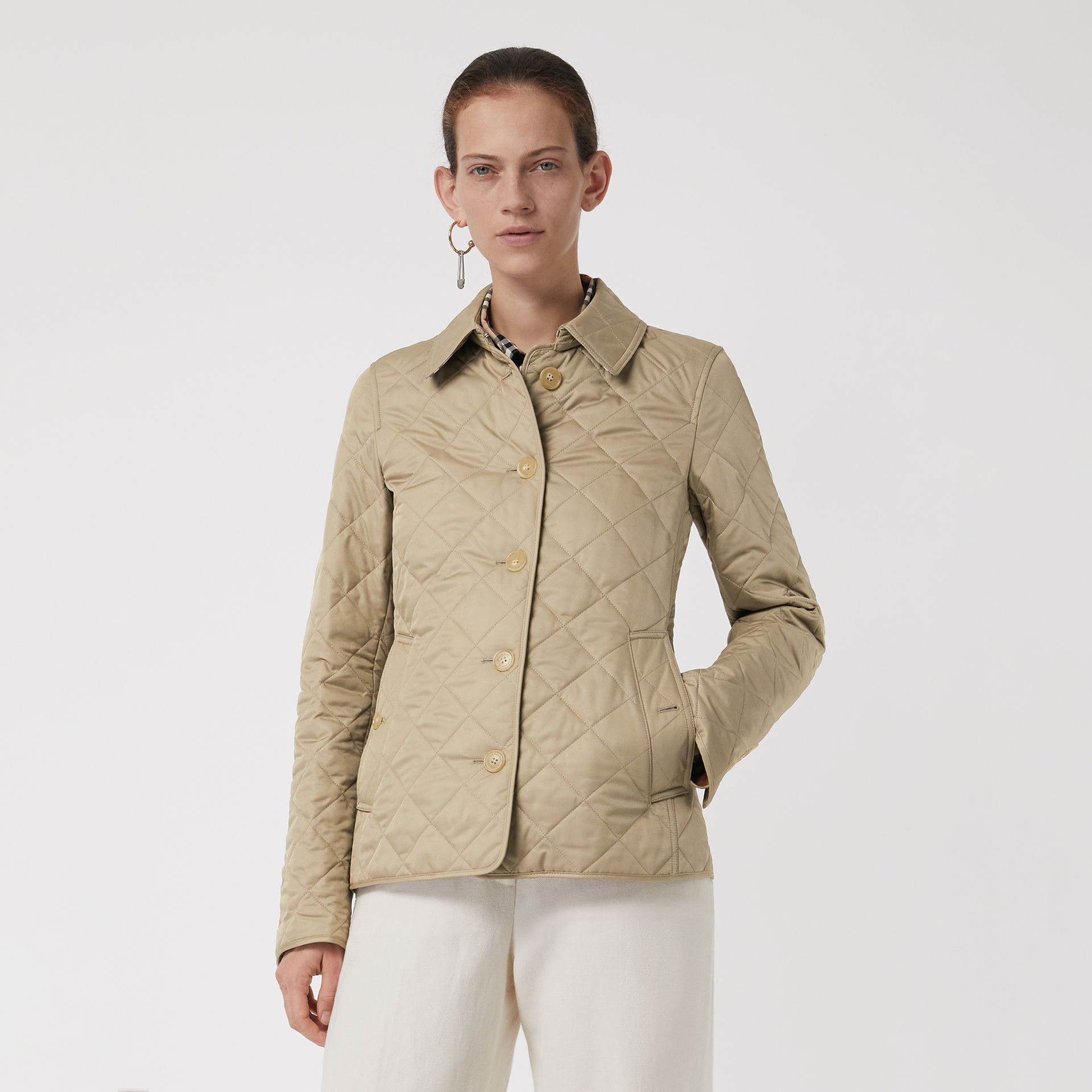 Diamond Quilted Jacket in Canvas - Women | Burberry - gallery image 4